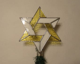 Medium Size Jewish Star Christmas Tree Topper, Stained Glass Star of David