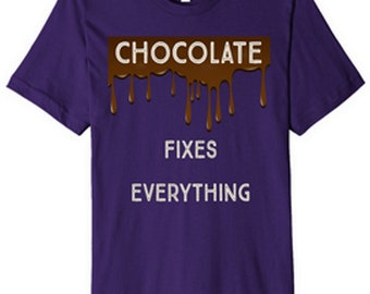 CHOCOLATE FIXES EVERYTHING Short sleeve T-shirt