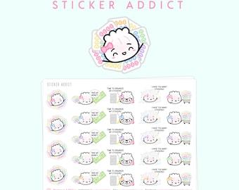 "Sticker Addict Stickers - ""Sticker Addict"" [Planner Girl Stickers, Planning Stickers, Wonton In A Million, Shopping Stickers] - S094"