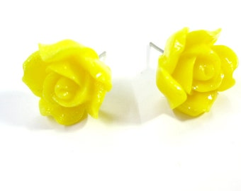 Glitter Birght Yellow Rose Post Earrings