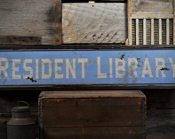 Custom Library Librarian Sign - Rustic Hand Made Distressed Wooden ENS1000765