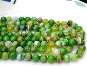 Green Faceted Striped Agate 8mm ROund Stone Beads  Full 15 inch strand