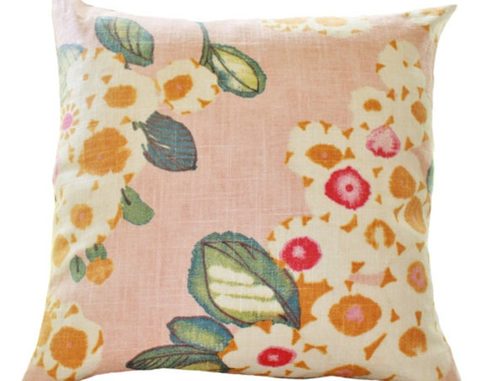 SALE! 20 x 20 MOTIF PILLOW Decorative Pink Pillow Covers - Floral Pink Fuchsia Ivory Teal Orange Pillow Covers