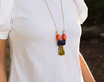 long necklace, boho necklace, multicolor necklace, colorful jewelry, beaded necklace, statement necklace, gift for her, statement jewelry