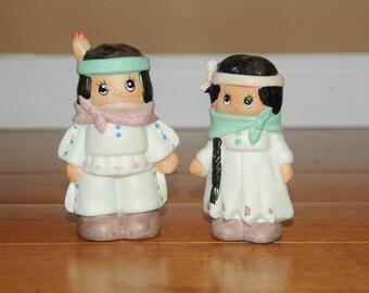 Vintage Salt Pepper Shakers Porcelain Indian Boy and Girl - Native American - Kitchen Decor - Gifts