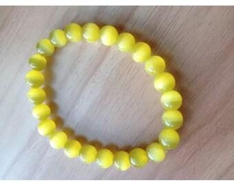 Natrual yellow  cats eye gemstone beaded bracelet