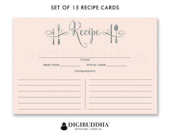 Recipe Cards Gift Set of 15 Recipe Cards Pack of 15 Recipe Card Gift Set Pink and Silver Glitter Utensils Kitchen Modern Recipe Cards - Mila