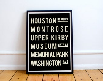 Living Room Decor, Houston, Subway Sign, Modern Art Print, Subway Art, Houston Map, Decor, Typography Poster, Sign, Subway Map, Wall Decor