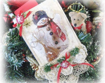 Snowman ChristmasGift or Gift Card Holder, Pocket Christmas Ornament, Snowman with Broom, Handmade CharlotteStyle, Collectable Creations