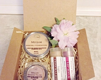 Mineral Makeup Gift Set  •  Gluten Free Makeup • Mineral Foundation  • Blush • Tinted Lip Balm • Earth Mineral Cosmetics