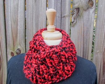 Handmade Knitted Red & Black Infinity Scarf