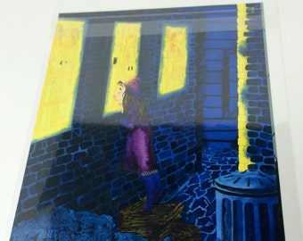 Watercolor Painting, Night Scene Art Print, Child Wall Art, Little Girl Art Print, Peaceful Art, Peaceful Painting, Quiet Painting Art Print