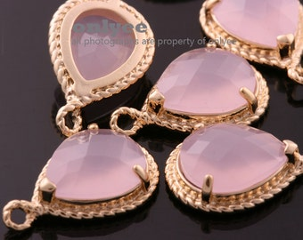 2pcs-19mmX12mmGold Faceted tear drop glass with rope rim pendants-Ice Pink(M316G-G)