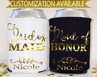 Bridesmaid Personalized Can Coolers- Customized wedding Favors- Bachelorette favors- Party Favors