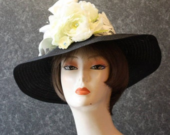Black Kentucky Derby Hat, Derby Hat, Garden Party Hat, Tea Party Hat, Easter Hat, Church Hat, Wedding Hat, Downton Abbey Black&White  376
