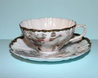 Vintage Meiji Japanese Cup and Saucer/Kutani/Yokohama/Hand Painted Eggshell