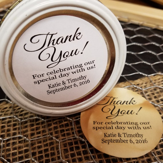 "Thank You for celebrating our special day with us 2"" STICKER Personalized Wedding Shower Favor STICKER choose your amount"