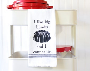 Funny Kitchen Towels - Dish Towels Funny - Funny Tea Towels - Hand Towels - Food Puns - Wedding Gift - Housewarming Gift - I Like Big Bundts