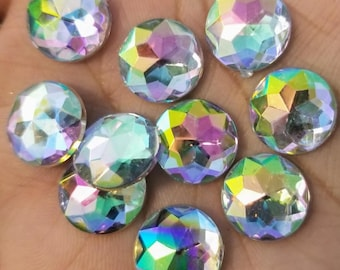 14mm Rainbow Clear Multifaceted Rhinestone Resin Cabochons -10pcs