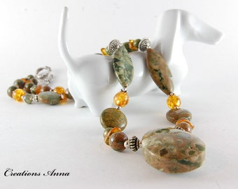 Gemstone Jewelry, Rhyolite, Amber, Semiprecious Stone Necklace,  Semiprecious Gemstones, Beaded Necklace