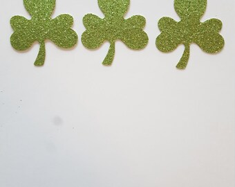 Shamrock Table Confetti {20 pcs} Irish Party Decorations, Wedding, St Patrick's Day, Clover Confetti, Feeling Lucky Theme, 28 GLITTER COLORS
