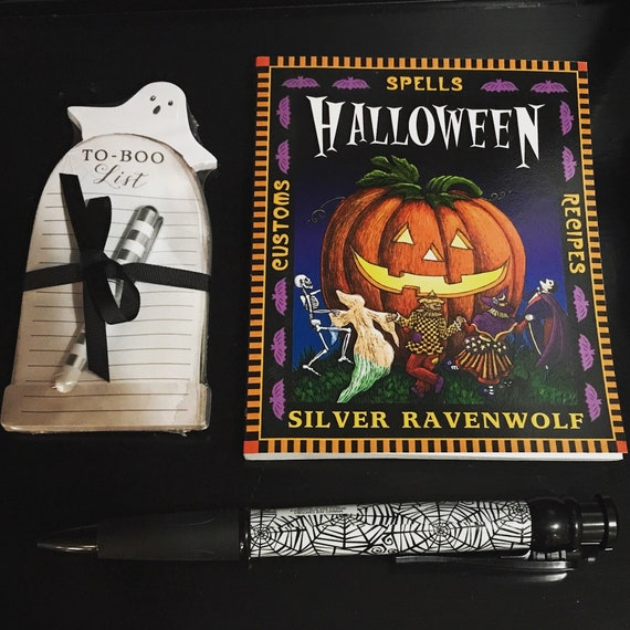 Halloween Spell Book To Boo List and Spiderweb Pen Set
