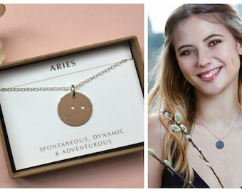 Aries necklace, Aries constellation necklace, zodiac necklace, birthday gift Aries, April birthday gift - Lyra
