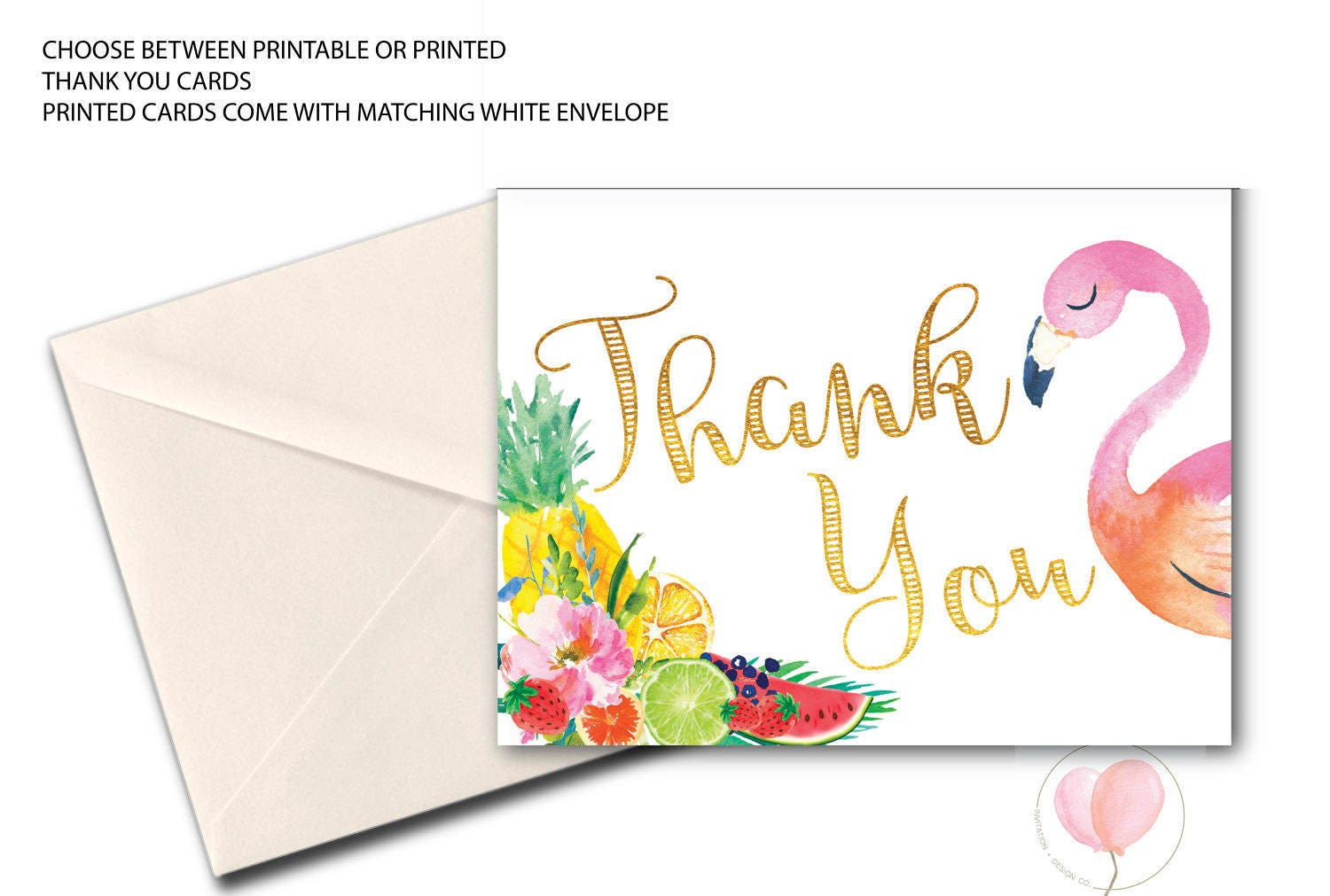 Super Flamingo Thank You Card // Folded Thank You // Tutti Fruity  VH53
