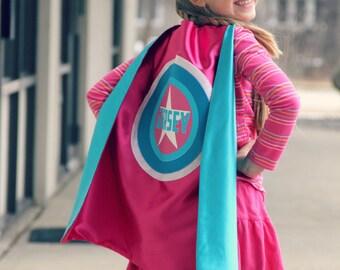 GIRLS STAR SUPERHERO Cape - Custom Full Name Gift - Personalized hero cape - Fast Delivery