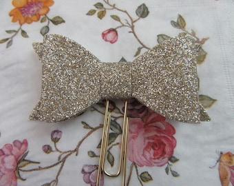 Glitter Bow Planner Paperclip - Champagne - Traveler's Notebook, Kikki-k