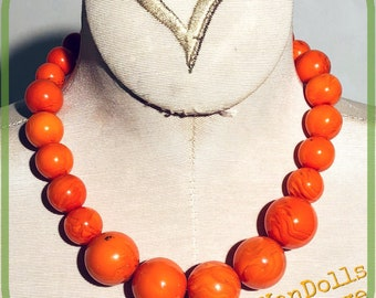 Vintage Orange Swirl Graduated Bead Necklace With Earrings Pinup Rockabilly