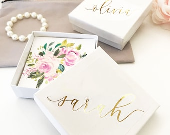 Bracelet Box - Personalized Jewelry Box for Bridesmaid Gift Bracelet Box Small Gift Box for Jewelry Box (EB3130PF) set of 4| EMPTY BOXES