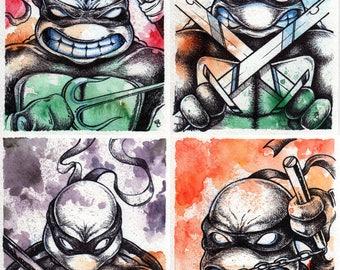 Set of 4 TMNT Teenage Mutant Ninja Turtle Prints