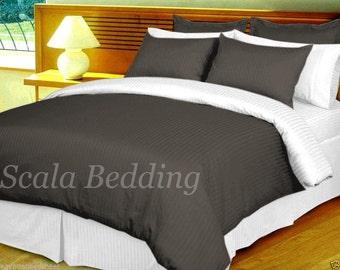 100%Egyptian Cotton 800TC Reversible Duvet Cover Set Gray and white Select Size