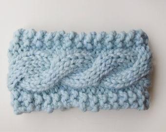 Cable Knit Natural Wool Blend Glacier Headband