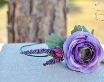 "The ""Lisa"" floral halo crown // flower crown wedding, purple wedding, lavendar flower headband, floral headpiece, floral halo, photo prop"