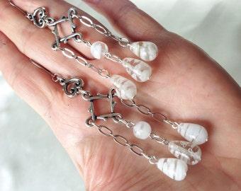 Frozen Flowers Handmade White Millefiori Earrings OOAK Art Nouveau Antique Silver Glass Tear Drop Beads Long Chandelier Bohemian Wedding