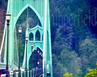 St. Johns Bridge, PDX, Fine Art Photography, Green Bridge,8x10,16x24, 20x30, Portland Bridge, Woodland Photo, Vintage, Urban Decor, Wall Art