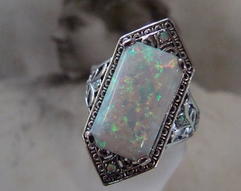 Stunning Sterling Silver Opal  Ring  Size 8.5  Art Deco