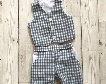 Boys Gingham Suit - Boys Wedding Suit - Baby Gingham Trousers - Grey Boys Suit - Grey Suit - Baby Wedding Outfit - First Birthday Outfit