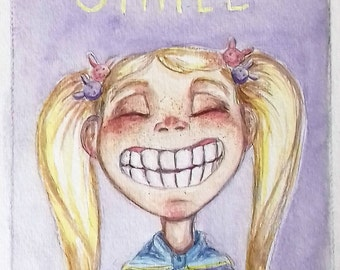 SMILE - 5x7 original watercolor painting illustration