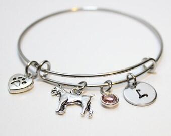 boxer dog bracelet, personalized boxer dog bracelet, boxer dog bangle, boxer dog lover gift, boxer dog initial bracelet, boxer dog owner