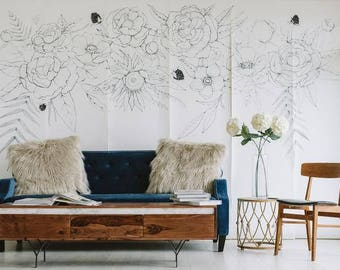 SALE Blooming Garland Mural - Large, Floral Contemporary Wallpaper