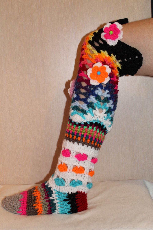 PATTERN Crochet socks pattern long socks multicolored socks