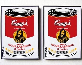 Lemmy MOTORHEAD Ace of Spades original Pop Art Soup framed duo set by Zteven