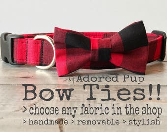 DOGGIE BOW TIE, Detachable Bow Tie, You Choose Color & Style!!  Dog Bow Tie, Cat Bow Tie, Pet/Puppy Bow Tie