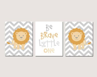Lion Nursery Art Lion Nursery Decor Lion Decor Lion Wall Art Nursery - Set of 3 Lion Prints - Be Brave Little One Quote - CHOOSE YOUR COLORS