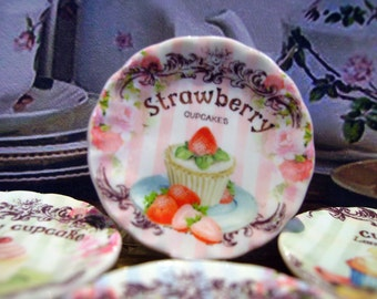 Strawberry Cupcake Miniature Plate for Dollhouse 1:12 scale