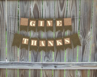 Thanksgiving banner give thanks printable Thanksgiving decor holiday bunting fall party flags decoration, instant download, vintage holiday