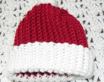 Red with white cuff cap